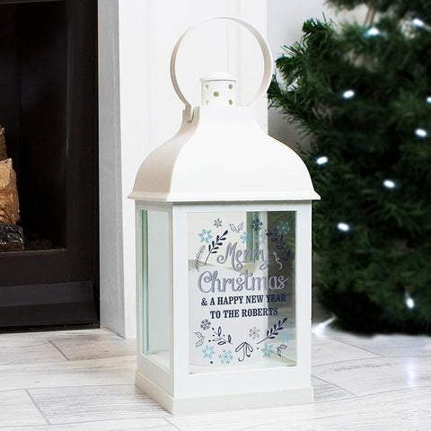 Personalised Christmas Frost White Lantern-OurPersonalisedGifts.com