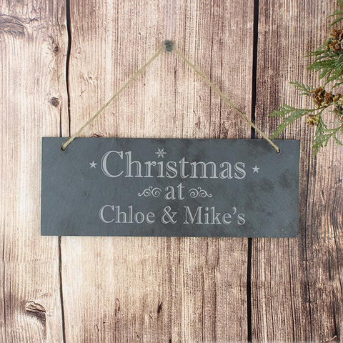 Personalised Christmas Hanging Slate Plaque-OurPersonalisedGifts.com