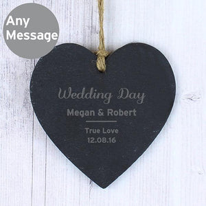 Personalised Classic Slate Heart Decoration-OurPersonalisedGifts.com