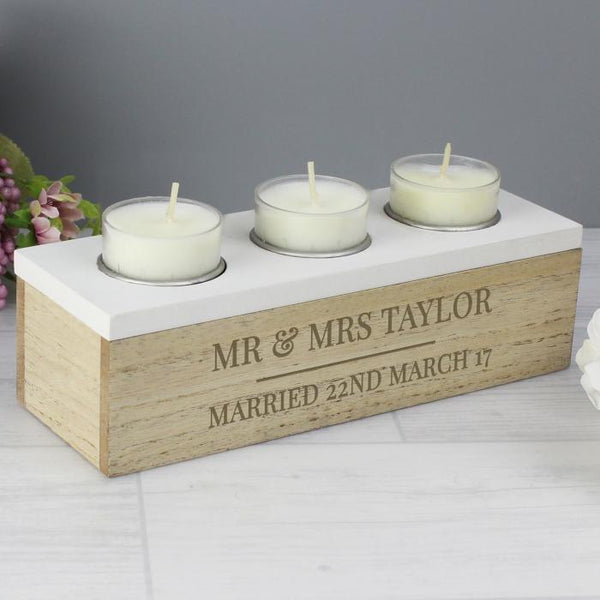 Personalised Classic Triple Tea Light Box-OurPersonalisedGifts.com