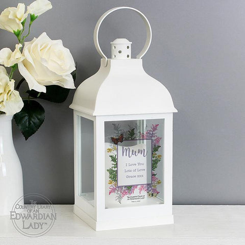 Personalised Country Diary Botanical White Lantern-OurPersonalisedGifts.com