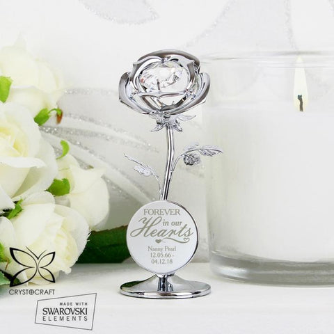Personalised Crystocraft Swarovski Forever In Our Hearts Rose Ornament-OurPersonalisedGifts.com