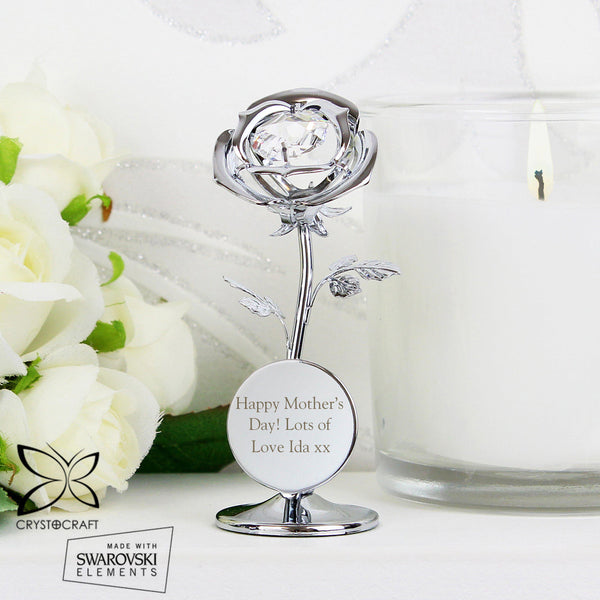 Personalised Crystocraft Swarovski Rose Ornament-OurPersonalisedGifts.com