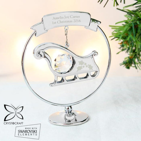 Personalised Crystocraft Swarovski Sleigh Ornament-OurPersonalisedGifts.com