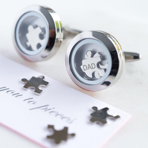 Personalised Dad I Love You To Pieces Cufflinks-OurPersonalisedGifts.com