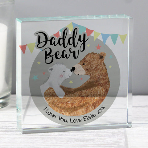 Personalised Daddy Bear Crystal Token-OurPersonalisedGifts.com