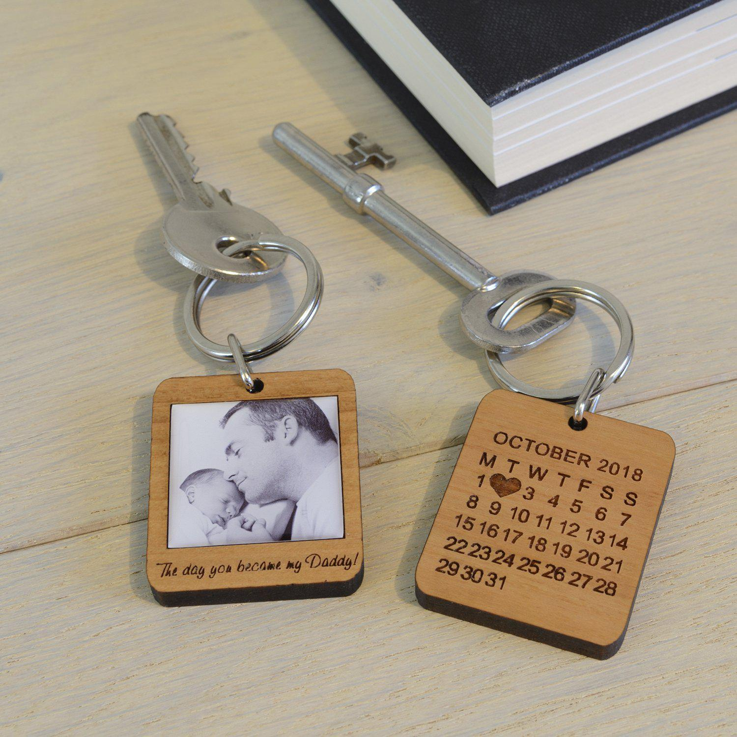 Personalised Day You Became My Daddy Photo Upload Key Ring-OurPersonalisedGifts.com
