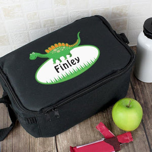Personalised Dinosaur Black Lunch Bag-OurPersonalisedGifts.com