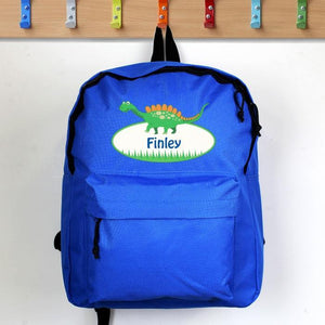 Personalised Dinosaur Blue Backpack-OurPersonalisedGifts.com