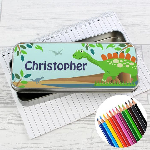Personalised Dinosaur Pencil Tin with Pencil Crayons-OurPersonalisedGifts.com