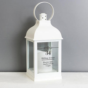 Personalised Elegant Diamond White Lantern-OurPersonalisedGifts.com