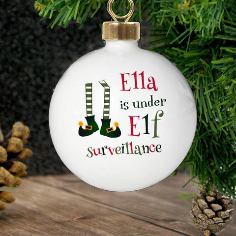 Personalised Elf Surveillance Bauble-OurPersonalisedGifts.com