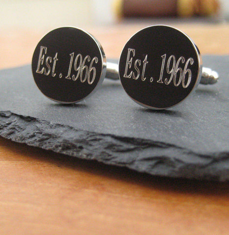 Personalised Est Date Cufflinks-OurPersonalisedGifts.com