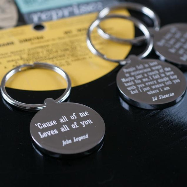 Personalised Favourite Lyric Keyring-OurPersonalisedGifts.com