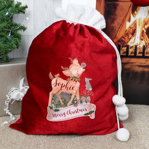Personalised Festive Fawn Luxury Pom Pom Sack-OurPersonalisedGifts.com