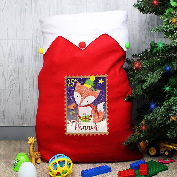 Personalised Festive Fox Multicoloured Pom Pom Sack-OurPersonalisedGifts.com