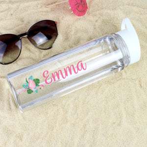 Personalised Flamingo Island Water Bottle-OurPersonalisedGifts.com