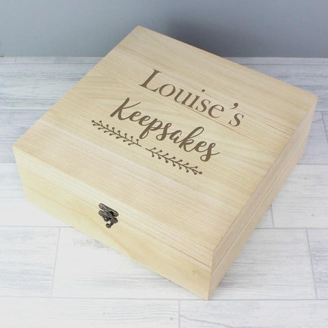 Personalised Floral Large Wooden Keepsake Box-OurPersonalisedGifts.com