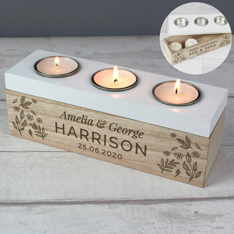 Personalised Floral Triple Tea Light Box-OurPersonalisedGifts.com