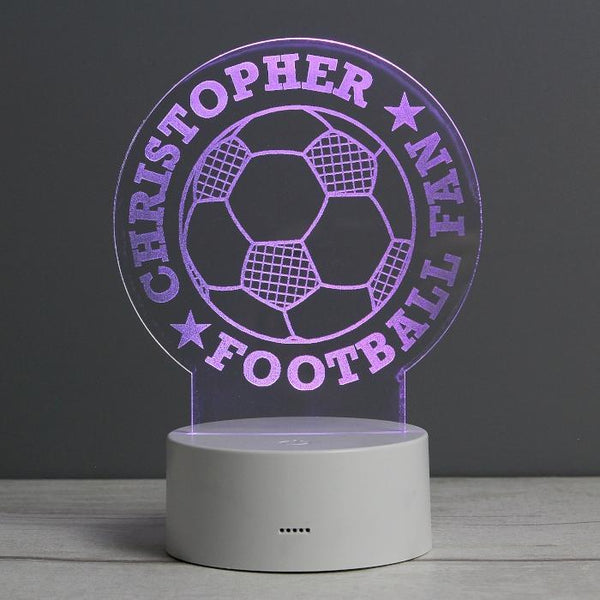 Personalised Football LED Colour Changing Night Light-OurPersonalisedGifts.com