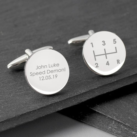 Personalised Gear Stick Round Cufflinks-OurPersonalisedGifts.com