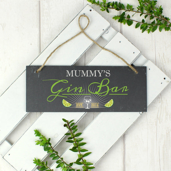 Personalised Gin Bar Printed Hanging Slate-OurPersonalisedGifts.com