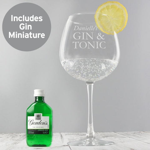 Personalised Gin & Tonic Balloon Glass with Gin Miniature Set-OurPersonalisedGifts.com