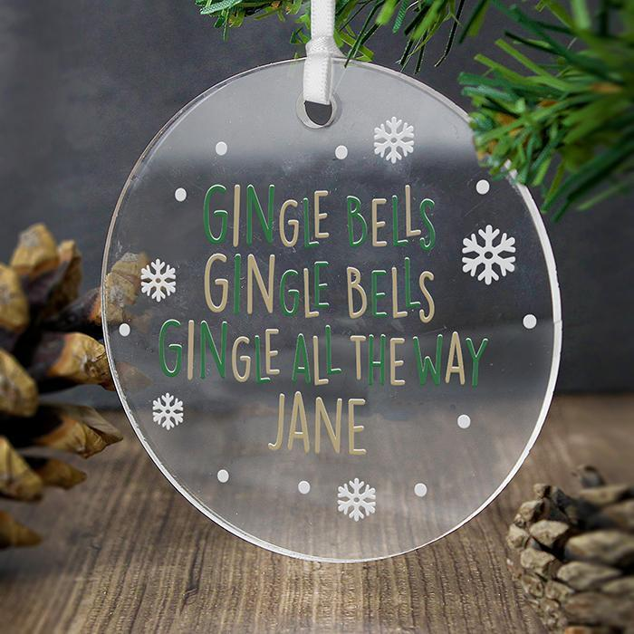 Personalised GINgle Bells Acrylic Decoration-OurPersonalisedGifts.com