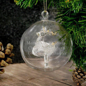 Personalised Glass Reindeer Bauble-OurPersonalisedGifts.com