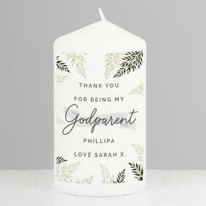 Personalised Godparent Pillar Candle-OurPersonalisedGifts.com