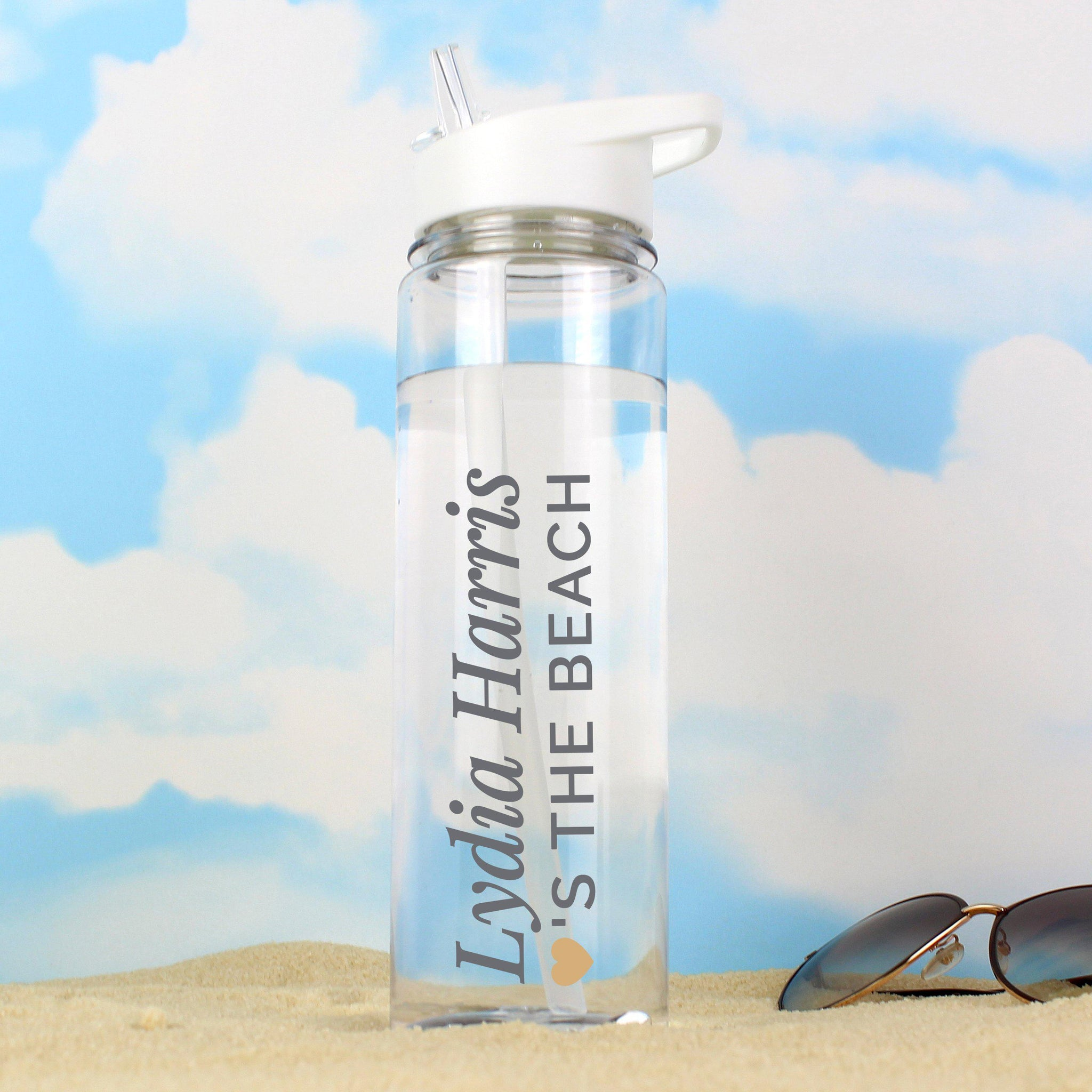 Personalised Gold Heart Island Water Bottle-OurPersonalisedGifts.com