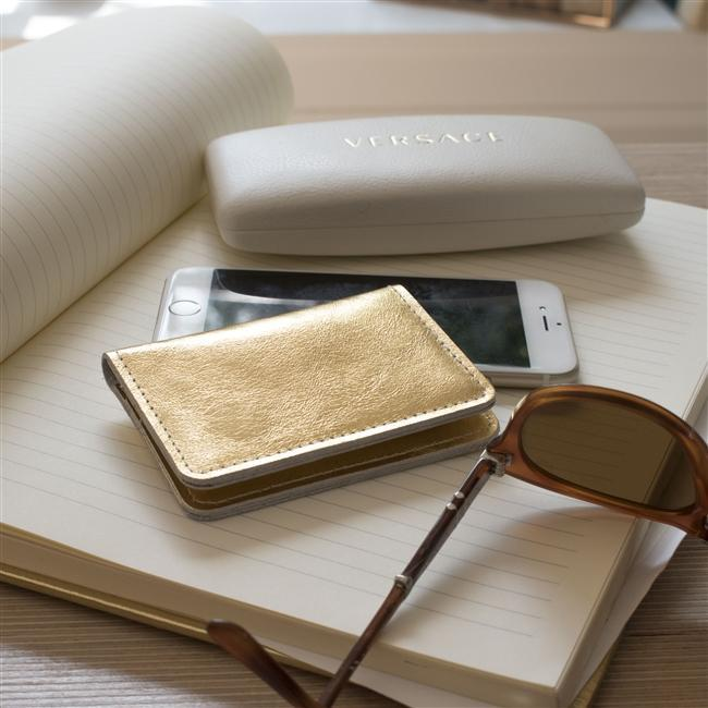 Personalised Gold Leather Card Case-OurPersonalisedGifts.com