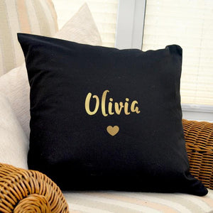 Personalised Gold Name Black Cushion Cover-OurPersonalisedGifts.com