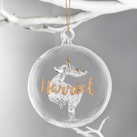 Personalised Gold Name Reindeer Glass Bauble-OurPersonalisedGifts.com