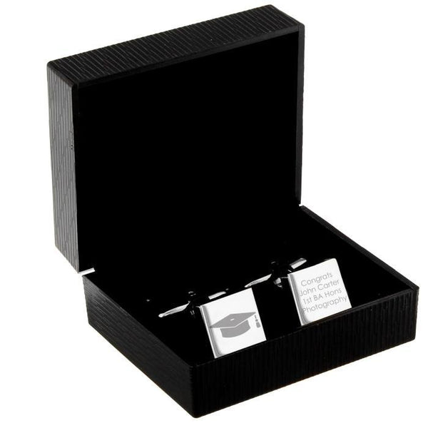Personalised Graduation Square Cufflinks-OurPersonalisedGifts.com