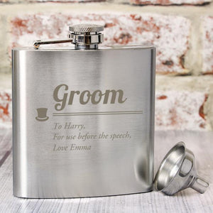 Personalised Groom Hip Flask-OurPersonalisedGifts.com