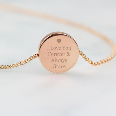 Personalised Heart Rose Gold Toned Disc Necklace-OurPersonalisedGifts.com