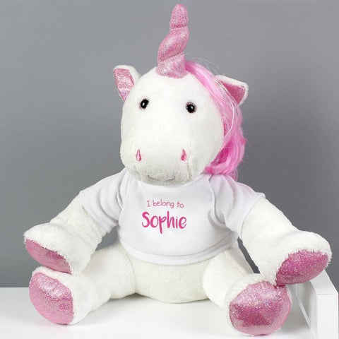 Personalised I Belong To Plush Unicorn-OurPersonalisedGifts.com