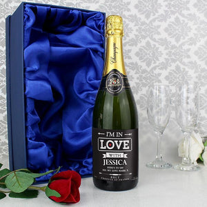Personalised In Love Champagne with Faux Rose and Gift Box-OurPersonalisedGifts.com