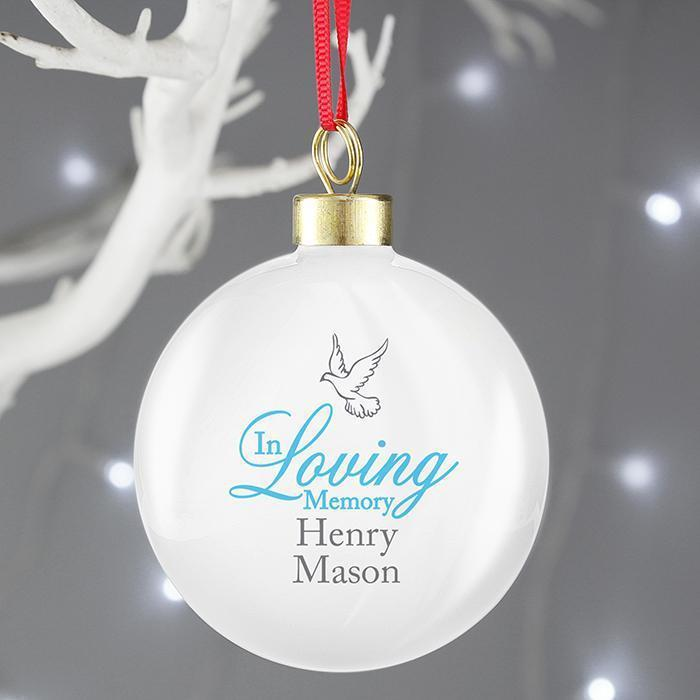 Personalised In Loving Memory Blue Bauble-OurPersonalisedGifts.com