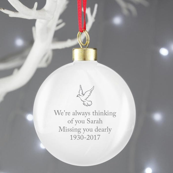 Personalised In Loving Memory Pink Bauble-OurPersonalisedGifts.com