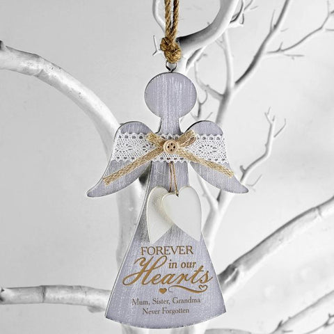 Personalised In Loving Memory Wooden Angel Decoration-OurPersonalisedGifts.com