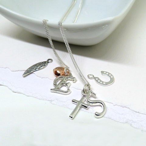 Personalised Initial Charm Necklace-OurPersonalisedGifts.com