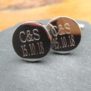 Personalised Initials & Date Round Cufflinks-OurPersonalisedGifts.com
