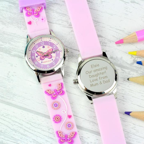 Personalised Kids Butterfly Watch-OurPersonalisedGifts.com