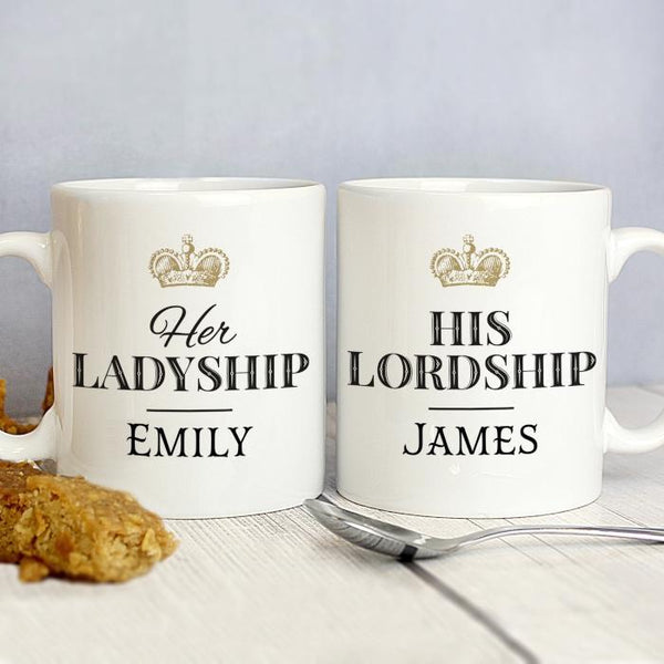 Personalised Ladyship and Lordship Mug Set-OurPersonalisedGifts.com
