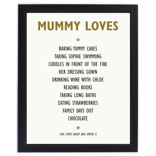 Personalised List of Love Framed Print-OurPersonalisedGifts.com
