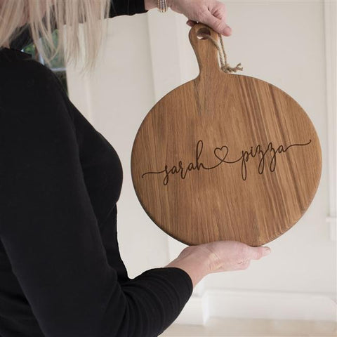 Personalised Love Pizza Oak Board-OurPersonalisedGifts.com