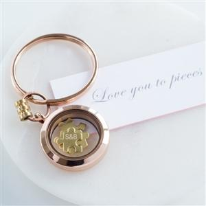 Personalised Love You To Pieces Rose Gold Keyring-OurPersonalisedGifts.com