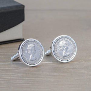 Personalised Lucky Sixpence Cufflinks-OurPersonalisedGifts.com